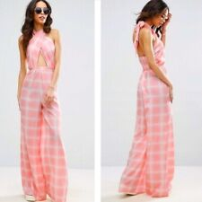 ASOS Size 4 Pink Plaid Halter Jumpsuit Womens Polyester