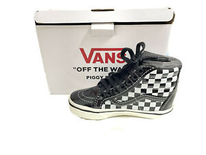 New Vans Off The Wall Piggy Bank Ceramic Checkered High Top With Real Laces