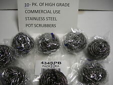 10 PACK OF COMMERCIAL USE STAINLESS STEEL POT PAN GRILL SCRUBBERS SCOUR CLEANERS