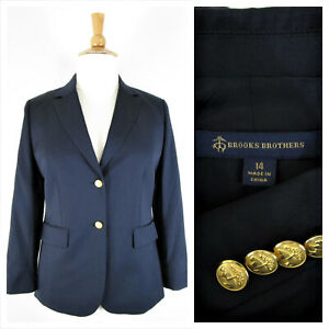 Brooks Brothers Womens Plus Size Tollegno Wool Blazer Size 14 Formal Career