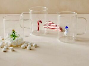 3 ANTHROPOLOGIE RALPHIE CHRISTMAS HOLIDAY TREE SNOWMAN CANDY CANE GLASS MUG CUP
