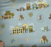 Saddle Up blue western town horses children kids Riley Blake fabric