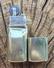 Vintage Trench Art Solid Brass Petrol Wick Lighter Pocket Lighter Briquet France