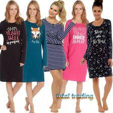 Ladies Long Sleeve Night Shirt Nightdress Nightie Nightshirt PJ pyjamas