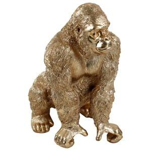 XXL Gorilla Figur 57 cm gold Affe Skulptur Statue Objekt Deko Urban Jungle