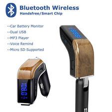 Wood Grain Bluetooth 4.2 Handsfree Car Kit Fm Transmitter Mp3 Player Usb Charger