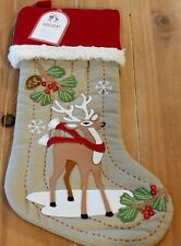 New Pottery Barn Kids Woodland REINDEER WITH SCARF Christmas Holiday Stocking