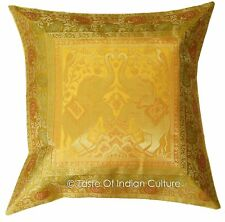 "Ethnic 17""x 17"" Gold Pillow Cushion Cover Elephant Brocade Sofa Throw Home Decor"