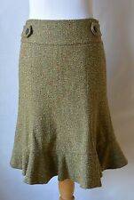 Tweed A-Line Skirt Ruffled Hem Fully Lined Green Brown Rust Side Zip Etcetera 2