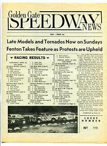 Golden Gate Speedway News Auto Race Program September 23 1967