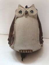 1971 Pacific Stoneware co. Usa ceramic Owl wind chime or bell