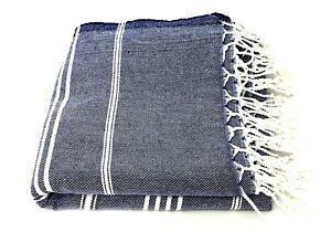 100% Turkish Cotton Peshtemal Towel - Ideal For Beach,Bath,Spa,Sauna,Gym - Navy