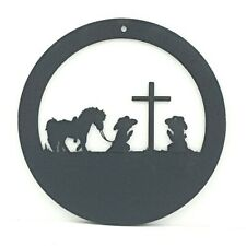 Silhouette Praying Cowboy Cowgirl Children Round Small Sign Cross Pony