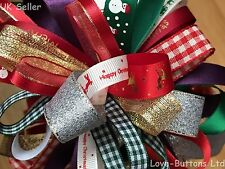 CHRISTMAS RIBBON BUNDLES 8 x 1M PACK GIFT WRAPPING WREATHS DECORATIONS CRAFTS