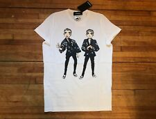 DSQUARED² COOL WHITE ANIME ASIAN TWINS BROTHERS PRINT COTTON T SHIRT S MEDIUM