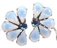 SoHo® Ohrclips mit vintage bohemia handgemachte Glassteine 60er Jahre light blue
