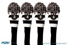 LIMITED EDITION LADY BLACK KNIT POM WOMENS GOLF CLUB 3 4 5 6 HYBRID HEAD COVERS