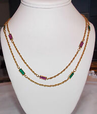 """2 VTG FACETED CRYSTAL NECKLACES SIGNED MADE IN AUSTRIA GREEN & PURPLE 24"""" EACH"""