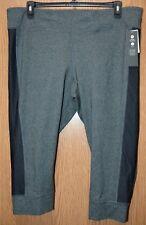 Womens Gray & Black Mesh Ideology Athletic Capri Pants Size 1X NWT NEW