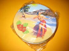4 Untersetzer - Cork Backed Metal Coasters - Hawaii - Hula - Tiki