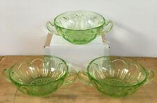 3 Anchor Hocking Colonial Green Rib Panel Cream Soup Bowl Vaseline Uranium Glows
