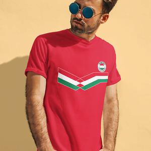 Mens HUNGARY Retro Strip Style Football Tee 2021 T-Shirt Hungarian Euro Shipping