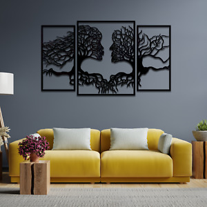 001 Tree Of Life Faces 3 panels Wooden Painted Hanging Wall Art Decor Gift
