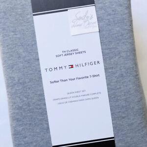 Tommy Hilfiger 4p QUEEN JERSEY KNIT SHEET SET t-shirt blend HEATHERED BLUE GRAY