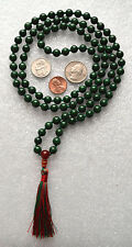 Green Mashan Jade & Carnelian 8mm 108+1 Hand Knotted Om Mala Beads Necklace