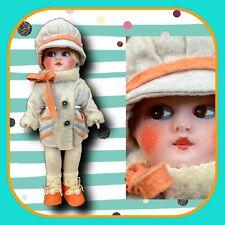 """12"""" Deans Rag Book Lenci Style Italy 20's Felted Doll Chevron Coat Boudoir Salon"""