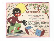 Vintage Greeting Card Christmas Black Americana Man Shooting Craps