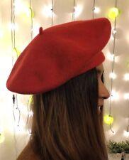 Vintage 100% Wool Beret Hat Red Winter Unisex Made In Czech Republic