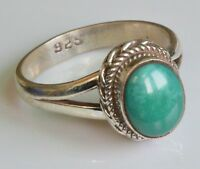 Sterling Silver Ethnic Asian Vintage Style Turquoise Stone Ring Size Q 1/2 Gift