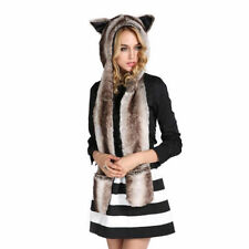 3 in 1 Warm Faux Animal Fur Hat Fluffy Plush Cap Hood Scarf Shawl Gloves Rabbit