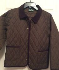 LL BEAN Girls Brown Quilted Jacket Coat Corduroy Trim Size M 10-12