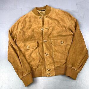 Vera Pelle Tan Brown Italian Vintage Pure Suede Buttoned Bomber Jacket Sze 48 M/