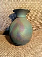 """Hand Thrown Signed RAKU Pottery Urn Vase 5"""" h x 3.5"""" w, Gorgeous Colors"""