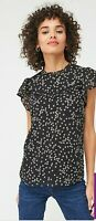 Oasis Puff Print Daisy Shell Top Multi Black Size 6 New With Tags