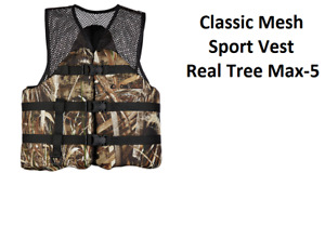 Life Jacket Vest Mesh Classic Fishing Hunting Boating Camo RT5 USCG Approved