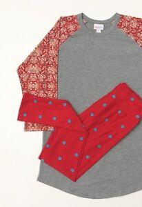 New Lularoe Outfit M Randy Os Leggings New Medium Onesize Paisley Polka Dot Red