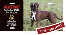 Hundeschild ÜBERWACHT selbst gestalten Beispiel mit Deutscher BOXER Warnschild
