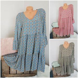 Leichtes oversize Hängerchen Kleid Long Tunika mint koralle khaki - 36 38 40 42