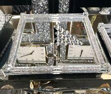 Silver Crushed Crystal Diamond Square Serving Tray, Cake, Diamanté Home Decor UK