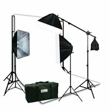 Photo Video Studio Boom Stand Lighting Kit with 10x12 White Muslin Backdrop