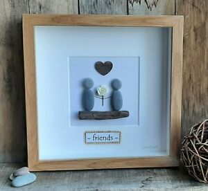Welsh Pebble Art friends picture. Unique, special gift - birthday/any occasion.