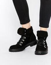 New Women Lace Up Boot US 8 Black Faux Suede Ankle Boots Man-made ALLYCAT