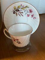 Vintage Delphine Bone China Gold Trim Pink Flowers Tea Cup & Saucer