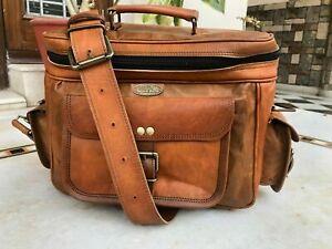 New Genuine Camel Leather Camera Bag DSLR Vintage Briefcase Laptop Lens Satchel