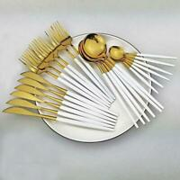 Black Gold Cutlery Set 24pcs Knife Fork Spoon Stainless Steel Kitchen Tableware