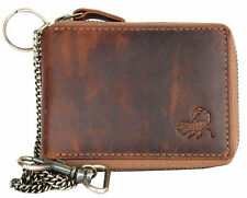 Men's biker's pocket sized genuine leather wallet with scorpion with metal chain
